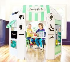 Beauty Shop Cardboard Playhouse for Kids by LittlePlaySpaces