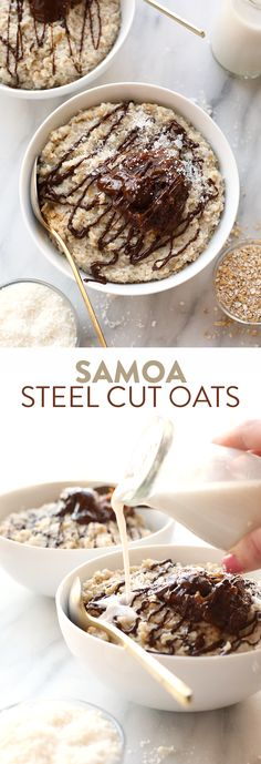 Use your slow cooker to make this decadent Crock Pot Samoa Steel Cut Oatmeal made with a coconut oatmeal base topped with homemade date caramel and a drizzle of chocolate!
