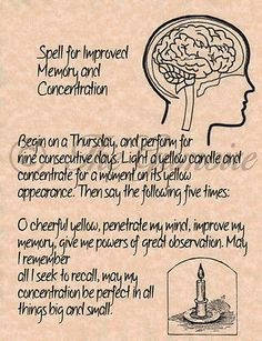 Spell for Improved Memory & Concentration, Book of Shadows Pages, Real Magick