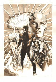 Anthony's Comic Book Art :: For Sale Artwork :: Captain Atom: Armageddon #8 Cover - LA - Captain Atom, Void, Grifter, Zealot, Apollo, & Midnighter - 2006 Signedby artist J.G. Jones
