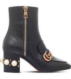 GUCCI - Peyton embellished heel leather ankle boots | Selfridges.com