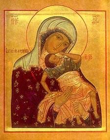 """The """"Joyful"""" (Vzigranie) Icon of the Most Holy Theotokos appeared near Moscow on November 7, 1795 . Nothing is known of the history of the icon, except that many miracles have taken place before it."""
