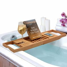 Bathforia Bathtub Caddy: Bamboo Bathtub Caddy Puts The Relaxation Back In Bath Time - Bathtub Tray - Store All Bathtub Accessories - Bathtub Caddy With Book Holder - Luxury Bath Products - Guaranteed