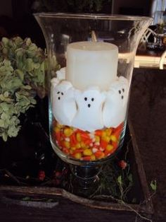 Always a fun a cheap decoration with Peeps and candy corn.  Can do it for Easter with the bunnies or Valentines they have I (Heart) U in Peeps