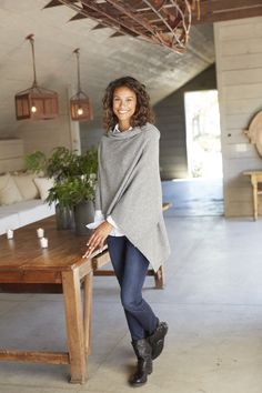 Luxe wool and cashmere wrap (in dark grey heather).