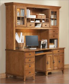 photo of broyhill attic heirlooms angle wedge desk with hutch in natural oak stain office