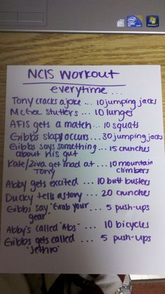 NCIS Workout... this would get me in shape.. and not feel guilty about watching the show so much :)