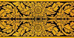 Ancient Thai pattern on door in Thailand Buddha Temple Asian Buddha style art Stock Photo