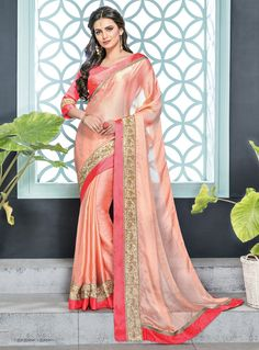 Sarees Online: Buy Peach Silk Chiffon Designer Embroidered Saree At Best Price On Variation. Huge Collection Of Designer Sarees, Party Wear Sarees, Wedding Sarees And Printed Sarees For Women. Chiffon Saree, Silk Chiffon, Silk Sarees, Cheongsam, Hanfu, Peach Saree, Party Wear Sarees, Printed Sarees, Embroidered Blouse