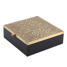 Mango wood and brass decorative box, 'Royal Mughal' - Handcrafted Mango Wood and Brass Decorative Box from India Painted Wooden Boxes, Wooden Gift Boxes, Wood Boxes, Cnc Cutting Design, Wood Table Design, Wooden Jewelry, Jewelry Box, Cosmetic Design, Paint Designs