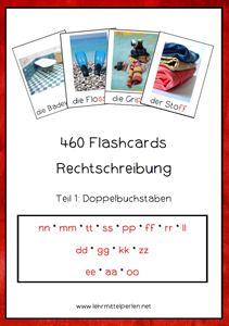 Flashcards zur Rechtschreibung: Wörter mit nn, mm, tt, ss, pp, ff, rr, ll, dd, gg, kk, zz, ee, aa, oo