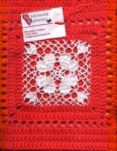 Doily Afghan Square ~ free pattern Now, combine two loves into one. I don't think I have ever come across this idea before, but why not? (Make sure the yarn you use is colorfast, you don't want it to bleed onto the thread. Crochet Square Pattern, Crochet Motif Patterns, Crochet Blocks, Square Patterns, Crochet Squares, Crochet Chart, Crochet Granny, Crochet Designs, Crochet Doilies
