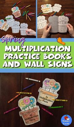 Spring Multiplication Practice Books make learning and reviewing multiplication tables easy and fun! Students make their own flower pot multiplication facts books. One book for each fact family 1-12.   Also includes matching color bulletin board or math center wall decorations. #spring #multiplication #math Multiplication Facts Practice, Multiplication Tables, Multiplication Strategies, Spring Activities, Hands On Activities, Classroom Activities, Teaching Math, Teaching Ideas, Math Websites