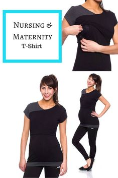 Nursing and Maternity T Shirt in black. Short sleeves and form fitting. #breastfeeding #maternity #womenscasualfashion #shopping #afflink