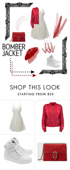 """#bomberjackets"" by nadyapradip on Polyvore featuring LE3NO, Moschino, Gucci, women's clothing, women, female, woman, misses, juniors and bomberjackets"