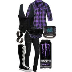 """""""Untitled #20"""" by burn-the-pictures on Polyvore YUUUUUUUUUUUSSSS!!!!!!!!!!!!!!! Scene Outfits, Emo Outfits, School Outfits, Fashion Outfits, Punk Fashion, Gothic Fashion, Color, Diy Clothes, Vest"""
