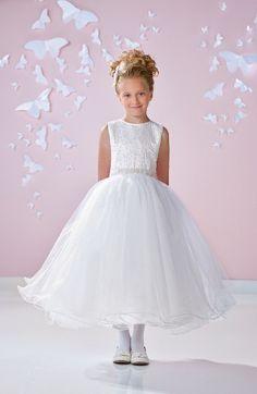 Girl's Joan Calabrese For Mon Cheri Beaded Satin & Tulle First Communion Dress