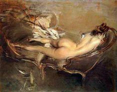 Nudo sdraiato su un divano letto, 1900 circa.
