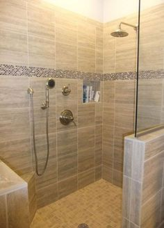 Bathroom, Shower Stall Ideas For Master Bathroom Walk In Bath Showers Without Doors Frameless Doorless With Also And Besides No Door Glass Enclosures Enclosure Walls Corner: Doorless Shower Stall Tile Walk In Shower, Small Bathroom With Shower, Small Showers, Master Shower, Shower Doors, Master Bathroom, Bathroom Ideas, Bathroom Showers, Small Bathrooms