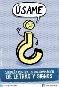 signo de interrogación : Campaña contra la discriminación de letras y signos