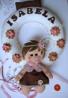 Fabric and felt wreath for little girl's bedroom.  So cute