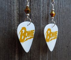 David Bowie Guitar Pick Earrings with Gold Crystals by ItsYourPick on Etsy
