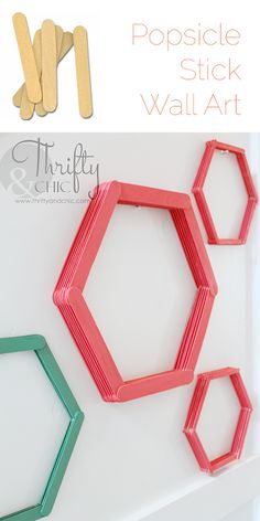 Diy crafts with popsicle sticks wall art ideas for 2019 Popsicle Stick Art, Popsicle Stick Crafts, Craft Stick Crafts, Decor Crafts, Home Crafts, Plate Crafts, Yarn Crafts, Stick Wall Art, Diy Wall Art