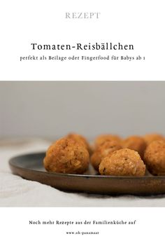 Recipe: These delicious tomato rice balls with goat cream cheese taste the whole family, as finger food they are also ideal for babies from 1 year. Even more food for children, recipes for Baby Led We Baby Snacks, Toddler Snacks, Kitchen Recipes, Baby Food Recipes, Fingerfood Baby, Cheese Tasting, Tomato Rice, Rice Balls, Family Kitchen