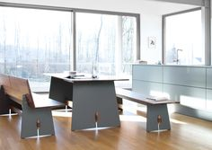 Tischplatte und Traverse aus Massivholz solid wood tabletop and cross-beam H 73 | B 220 | T 90 GT TI 743 H27 white, black edge, oak GT TI 743 H28..