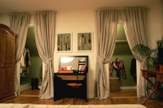Curtains over closet doors. Could hide merrors on thr closet doors and maximize . Curtains over cl Closet Bedroom, Bedroom Decor, Bathroom Closet, Bedroom Ideas, Master Bedroom, Entryway Closet, Bathroom Doors, Curtains For Closet Doors, Curtain Closet