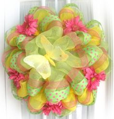 Summer Wreaths are easy to make with great ribbon and deco mesh from Old Time Pottery!  http://www.oldtimepottery.com/