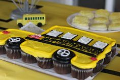 "School Bus Party. Bus cupcake ""cake."" Love! Other neat ideas on her blog."