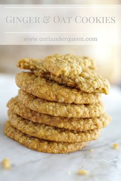 Deliciously soft and chewy ginger and oat cookies. Such an easy recipe and so yummy! Oat Cookie Recipe, Oat Cookies, Biscuit Cookies, Biscuit Recipe, Cookie Recipes, Dessert Recipes, Yummy Recipes, Recipies, Muffins