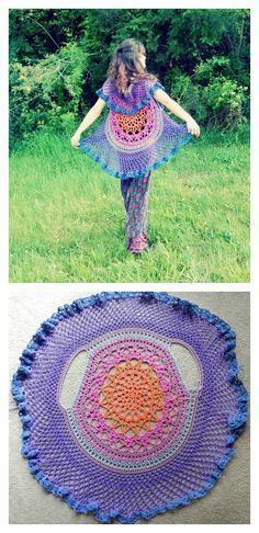 Crochet Poncho Lotus Mandala Circular Vest FREE crochet pattern - Crochet jackets are not only warm and cozy, but also pretty. If you are a fan of crochet, why not crochet a circle jacket? Crochet Circle Vest, Poncho Au Crochet, Pull Crochet, Crochet Circles, Crochet Jacket, Crochet Stitches, Knit Crochet, Crochet Vests, Crochet Sweaters