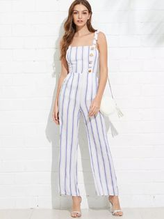 Thick Strap Knot Open Back Striped Jumpsuit -SheIn(Sheinside)