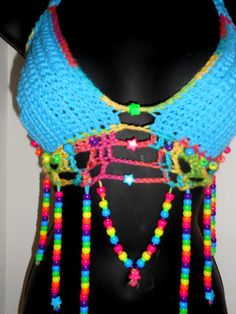 Super Deluxe Star Hippie Rave Crochet Rainbow Party by PandaStylez, $65.00