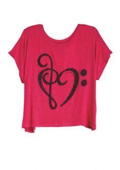 Music Note Heart Tee- Deliah's My buddy has one of these, and I always thought it was pretty awesome