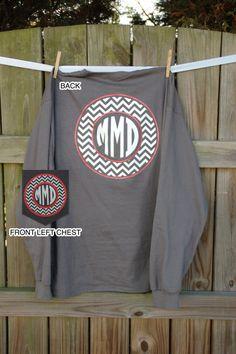 Long Sleeved Monogrammed T Shirt/Tee Monogrammed Pocket Tshirt vinyl heat press