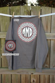 Long Sleeved Monogrammed T Shirt/Tee Monogrammed Pocket Tshirt vinyl heat press