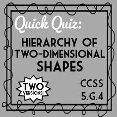 5th Grade Geometry Quiz- Hierarchy of Two-Dimensional Shapes! 5.G.4 Assessment! Includes two versions covering the concept that categories of shapes overlap. A square is also a rectangle, a rhombus, a parallelogram, and a quadrilateral!