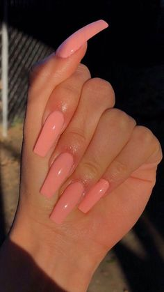 Ballerina Nägel - extra long peach coffin nails – Nails – – Nageldesign – Y - Summer Acrylic Nails, Best Acrylic Nails, Pink Acrylics, Coffin Acrylics, Ballerina Acrylic Nails, Simple Acrylic Nails, Spring Nails, Baby Pink Nails Acrylic, Holiday Acrylic Nails