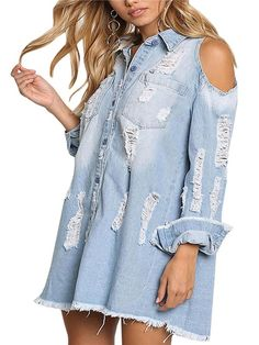 648061bb3a8 How to wear a denim shirt outfit summer fall DIY plus size oversized with  jeans blue