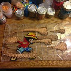 Monkey D. Luffy One Piece perler beads by samplesbeadart