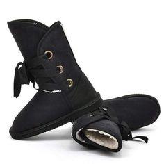 Women Warm Faux Fur Lace-up Comfort Flats Ankle Winter Snow Boots 5 Colors WNE