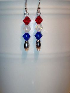 Red, White and Blue Swarovski Elements Crystal Faceted Beads with Silver Spacer Beads Dangle Earrings
