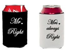 Mr. Right and Mrs. Always Right Can Coolers Gift Set: Wedding gift