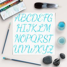 Blue Watercolor Alphabet Clipart -  http://etsy.me/2bXgDd7 You can use them for making invites, greetings cards, invitation cards, scrapbooking, birthday party, stationary and other creative projects.