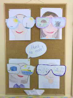 Zážitky z prázdnin - do brýlí (obkreslené dle šablony) kreslí zážitek, pak nakreslí sebe/autoportrét.  Pozn.: zvládla 2., 4. a 5. třída. Summer Crafts, Tips, Summer Activities, Counseling