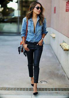 comment porter une chemise en jean avec des chaussures à talons