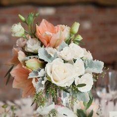pale peach blue and silver centerpieces | peach coral light blue wedding | coral wedding ... | Wedding Inspirat ...